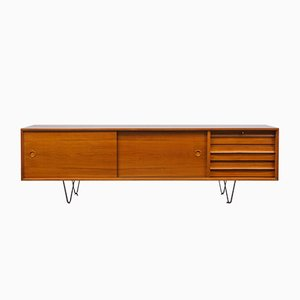 Large Teak Veneer and Metal Sideboard, 1960s
