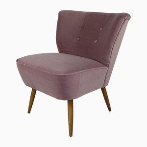 Vintage Pink Violet Velvet Lounge Chair, 1970s