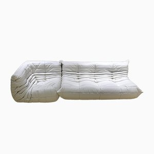 White Leather Togo Living Room Set by Michel Ducaroy for Ligne Roset, 1970s, Set of 2