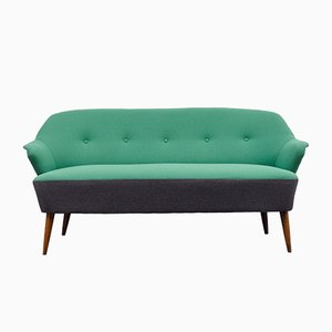Vintage Cocktailsofa in Anthrazit & Grün, 1950er