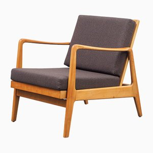 Vintage Cherry Wood Armchair, 1960s