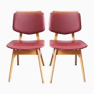 Rote Mid-Century Esszimmerstühle aus Skai, 2er Set