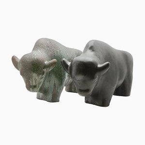 Esculturas de toro Fat Lava esmaltadas de Otto Keramik, años 60. Juego de 2