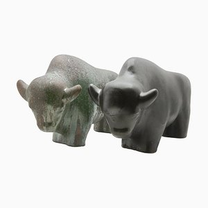 Fat Lava Glazed Bull Sculptures from Otto Keramik, 1960s, Set of 2