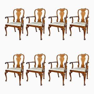 Antique Walnut Queen Anne Dining Chairs, Set of 8