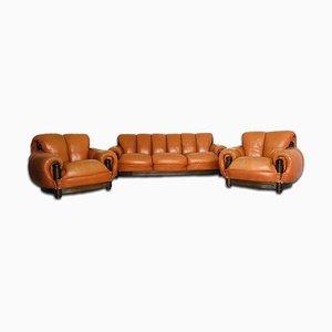 Juego de sofá de cuero y madera, años 70
