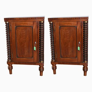 Antique Mahogany Night Stands, Set of 2