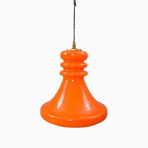 Lámpara colgante vintage de vidrio naranja, años 70