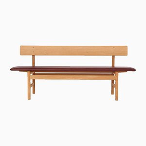 Oak and Leather 3171 Bench by Børge Mogensen for Fredericia, 1970s
