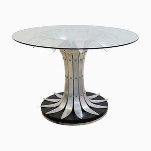 Mesa de comedor vintage de vidrio y cromo cepillado
