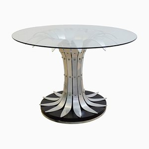 Vintage Glass and Brushed Chrome Dining Table