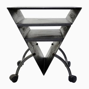 Table d'Appoint Triangulaire Vintage en Métal