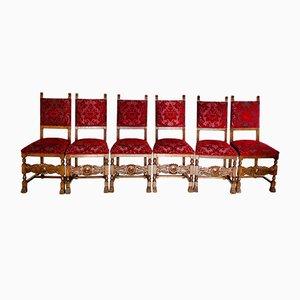 Vintage Stühle mit Gestell aus geschnitztem Nussholz, 6er Set