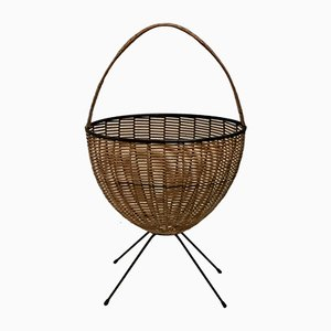 Mid-Century Rattan Newspaper Basket