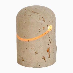 Tischlampe aus Travertin von Giuliano Cesari für Nucleo, 1971