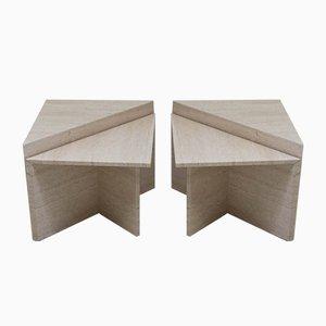 Tables d'Appoint Vintage en Travertin, Italie, 1960s, Set de 4