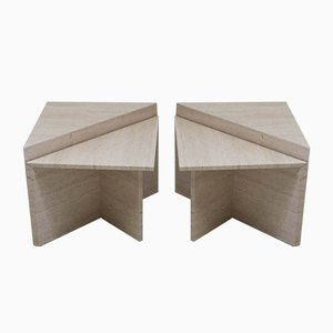 Vintage Italian Travertine Side Tables, 1960s, Set of 4