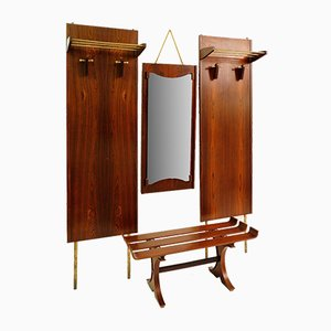 Italian Rosewood Hall Coat Rack Set and Bench, 1960s