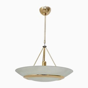 Italian Brass and Etched Glass Pendant Lamp, 1980s