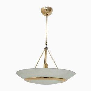 Lampada in ottone e vetro inciso, Italia, anni '80