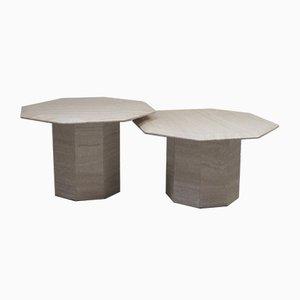 Tables Basses Vintage en Travertin, Italie, 1960s, Set de 2