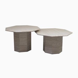 Vintage Italian Travertine Coffee Tables, 1960s, Set of 2