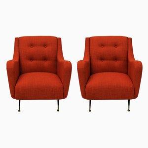 Rote Mid-Century Sessel, 1950er, 2er Set