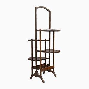 Mesa de bandejas plegable inglesa antigua de nogal