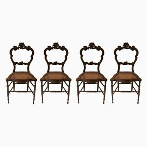 Chaises de Salle à Manger Style Louis Philippe en Noyer et Paille de Vienne, 1940s, Set de 4