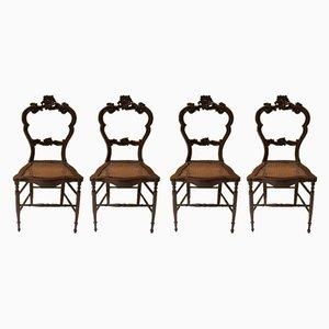 Sedie da pranzo in stile Luigi Filippo in noce e paglia di Vienna, anni '40, set di 4