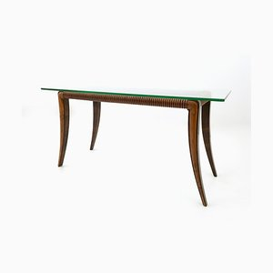 Rectangular Italian Maple and Rosewood Coffee Table by Osvaldo Borsani, 1940s