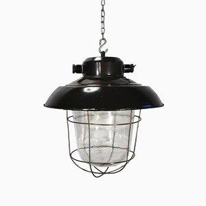 Lampada da soffitto industriale vintage smaltata nera e in vetro satinato, anni '60