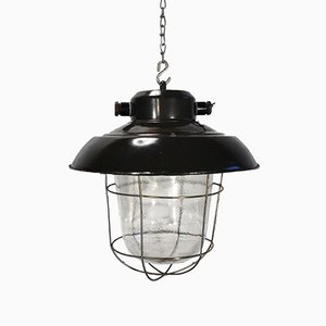 Vintage Industrial Black Enamel and Frosted Glass Factory Ceiling Lamp, 1960s