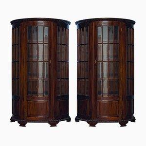 Vintage Mahogany Demi-Lune Cabinets, Set of 2