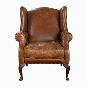 Vintage English Leather Wingback Armchair