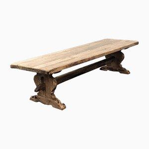Mesa de comedor francesa antigua larga de roble