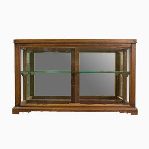 Antique Victorian English Oak Display Cabinet