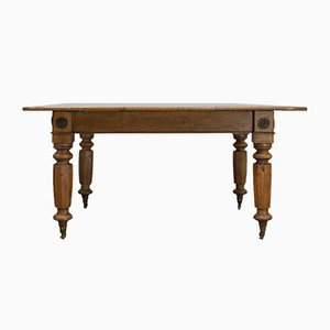 Antique Victorian English Oak Dining Table