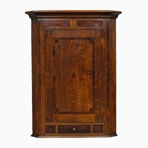 Mueble esquinero inglés georgiano antiguo de roble