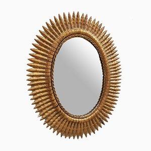Espejo en forma de sol de hierro, años 70