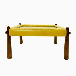 Mesa de centro pequeña de cuero de Percival Lafer, años 70