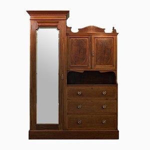 Armario eduardiano inglés antiguo de caoba con espejo