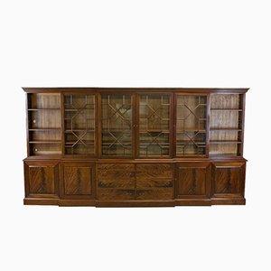 Large Vintage Breakfront Mahogany Bookcase Cabinet