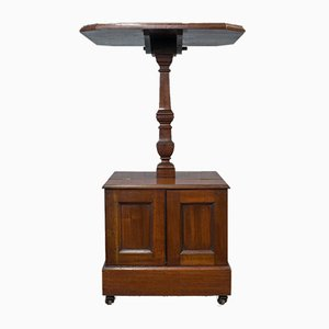 Antique English Walnut Coal Box Table
