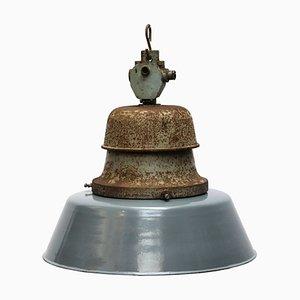 Lampe à Suspension de Gare Vintage en Émail et Fonte, 1950s