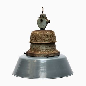 Vintage Enamel and Cast Iron Train Station Pendant Lamp, 1950s