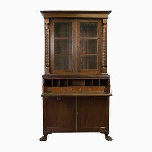 Mueble escocés victoriano antiguo de vidrio y caoba