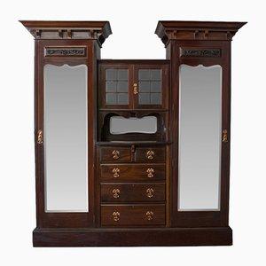 Antiker englischer Kleiderschrank aus Mahagoni mit Spiegeln im viktorianischen Stil von Maple and Co.