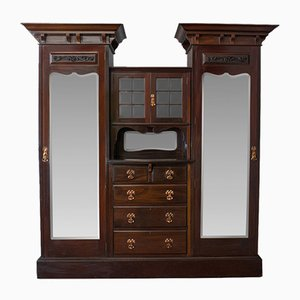 Antique Victorian English Mahogany Mirrored Wardrobe from Maple and Co.