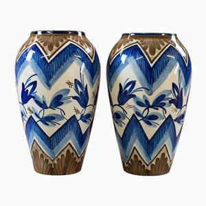 Jarrones ingleses vintage de cerámica. Juego de 2